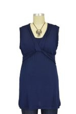Pia D&A Sleeveless Draped Neck Nursing Top (Navy) by Japanese Weekend