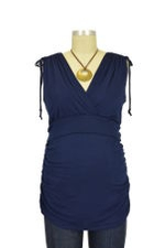 Cassandra D&A Shirred Shoulder Nursing Top (Navy) by Japanese Weekend