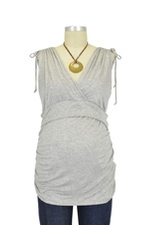 Cassandra D&A Shirred Shoulder Nursing Top (Heather Grey) by Japanese Weekend