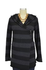 Thea Hooded Wool Cardigan (Black & Charcoal) by Nikki Bikki
