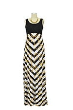 Chevron Stripes Colorblock Maxi Nursing Dress (Stripes with Rope) by Larrivo