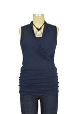 Isabella Sleeveless Nursing Top (Navy) by Baju Mama