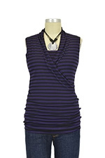 Isabella Sleeveless Nursing Top (Eggplant & Black Stripes) by Baju Mama