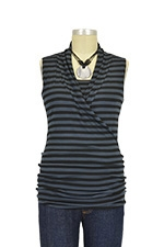 Isabella Sleeveless Nursing Top (Charcoal & Black Stripes) by Baju Mama
