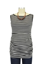 Audrey Sleeveless Boatneck Nursing Top (Heather Grey & Black Stripe) by Baju Mama