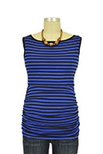 Audrey Sleeveless Boatneck Nursing Top (Royal & Black Stripes) by Baju Mama