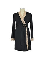 Emma Long Sleeve Lace Trim Robe (Black/Cream Lace) by Baju Mama