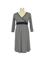Jane Modal Nursing Night Dress (Heather Grey/Black Stripe) by Baju Mama