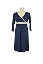Jane Modal Nursing Night Dress (Navy/Heather Grey) by Baju Mama