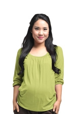 Jordan 3/4 Sleeve Raglan Nursing Top (Lime) by Spring Maternity