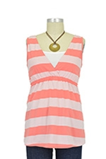 Christy Tie-Back Nursing Top (Peach Stripes) by Spring Maternity