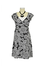 Cherilyn Flutter Wrap Nursing Dress (Black and White Floral) by Spring Maternity