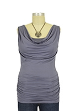 Ava Sleeveless Cowl Neck Nursing Top (Aluminum) by Baju Mama