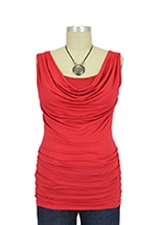 Ava Sleeveless Nursing Cowl Neck Top (Ruby Red) by Baju Mama