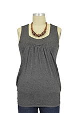 Jackie Sleeveless Heart Shape Nursing Top (Black Heather) by Baju Mama