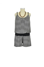 Sandy Twisted Strap Maternity Romper (Heather Grey & Black Stripes) by Baju Mama