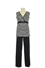 Jane Modal Sleeveless Nursing PJ Set (Heather Grey/Black Stripe) by Baju Mama