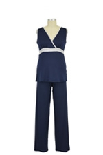 Jane Modal Sleeveless Nursing PJ Set (Navy/Grey Heather) by Baju Mama