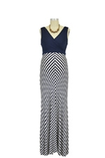 Tiffany Colorblock Stripes Maternity Dress (Navy & White Stripes) by Baju Mama