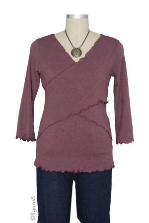 Flutter Cross Front Nursing Top (3/4 sleeve) (Burgundy) by Japanese Weekend