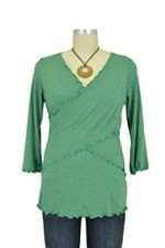 Flutter Cross Front Nursing Top (3/4 sleeve) (Green) by Japanese Weekend