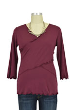 Flutter Cross Front Nursing Top (3/4 sleeve) (Wine) by Japanese Weekend