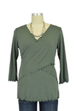 Flutter Cross Front Nursing Top (3/4 sleeve) (Army Green) by Japanese Weekend