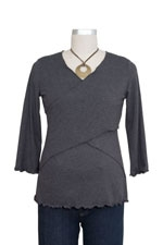 Flutter Cross Front Nursing Top (3/4 sleeve) (Charcoal) by Japanese Weekend
