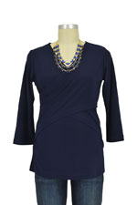 Luxe Jersey Cross Front  Nursing Top (3/4 sleeve) (Navy) by Japanese Weekend