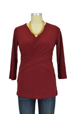 Luxe Jersey Cross Front Nursing Top (3/4 sleeve) (Burgundy) by Japanese Weekend