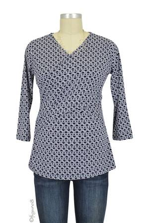 Luxe Jersey Cross Front Nursing Top (3/4 sleeve) (Navy Chain) by Japanese Weekend