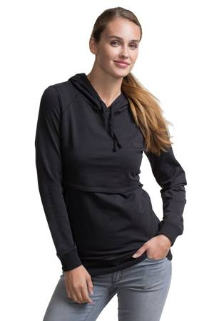 Boob Design B-Warmer Organic Knitted Nursing Hoodie (Black) by Boob Design