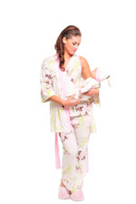 Rose 5-Piece Nursing PJ Set with Baby Outfit (Pink Floral Asian Print) by Olian