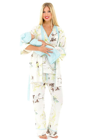 Rose 5-Piece Nursing PJ Set with Baby Outfit (Blue Floral Asian Print) by Olian