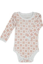 L'ovedbaby Long-Sleeve Baby Girl Bodysuit (Pink Tile) by L'ovedbaby