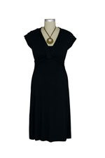 Vivian Bamboo Twist Front Nursing Dress (Black) by Japanese Weekend
