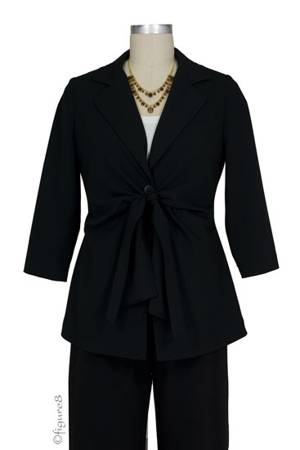 Audrey Front Tie Maternity Jacket (Black) by Maternal America