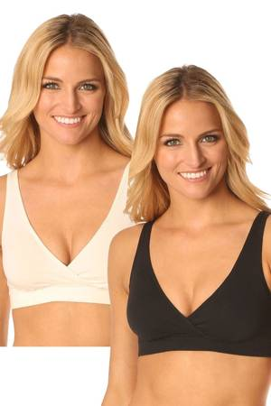 Majamas Organic Easy Bra - 2 Pack (Black & Ivory) by Majamas