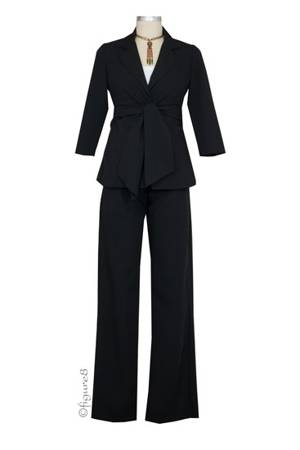 Audrey 3/4 Sleeve Front Tie Jacket & Slim Pant - 2-pc Suit Set (Black) by Maternal America