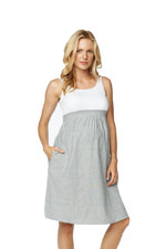 Gianna Empire Seersucker Maternity Dress (White and Navy Seer Sucker) by Maternal America