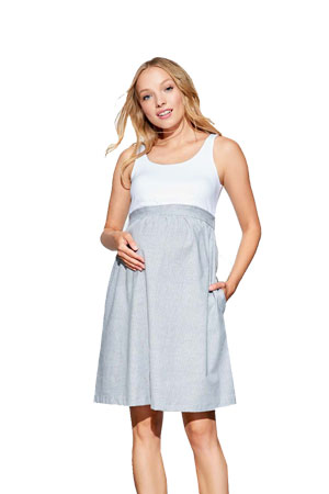 Gianna Empire Seersucker Maternity Dress (White/Seersucker) by Maternal America