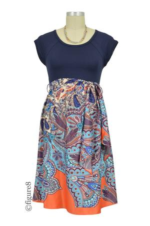 Harper Scoop Neck Front Tie Maternity Dress (Navy Paisley Print) by Maternal America
