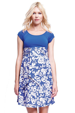 Hayden Scoop Neck Front Tie Maternity Dress (Blue/Abstract Daisy) by Maternal America