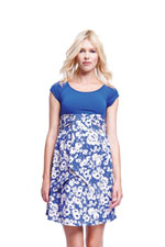 Harper Scoop Neck Front Tie Maternity Dress (Blue/Abstract Daisy) by Maternal America