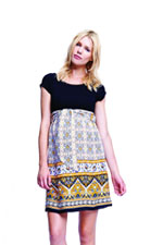 Helen Scoop Neck Front Tie Maternity Dress (Black/Mustard Paisley) by Maternal America