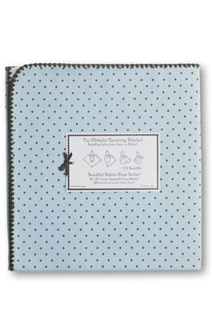 Swaddle Designs Ultimate Receiving Blanket (Pastel Blue w. Brown Dots) by SwaddleDesigns