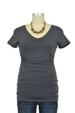 Boob V-Neck Before and After Nursing Top (Charcoal) by Boob