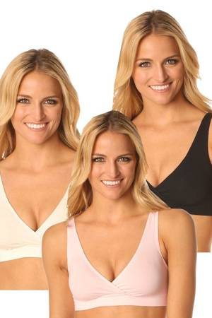 Majamas Organic Easy Bra - 3 Pack (Black, Ivory & Heavenly Pink) by Majamas