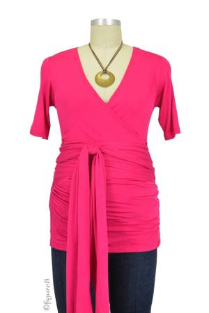 The Bella Wrap Around SS Maternity Top (Hot Pink) by Lilac Maternity & More