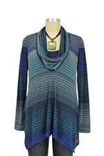 Sabra Cowl Neck Nursing Sweater (Blue Mason Print) by Maternal America